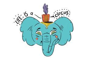 Elefante blu sveglio con il vettore del cappello del circo