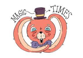 Coniglietto rosa sveglio del circo con il vettore degli occhi azzurri