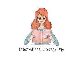 Libro di lettura della ragazza dell'acquerello di vettore per il giorno di alfabetizzazione