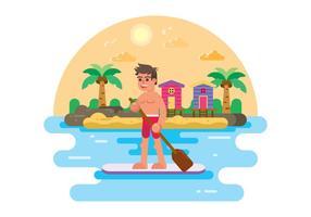L'uomo sta su sull'illustrazione di Paddleboard vettore