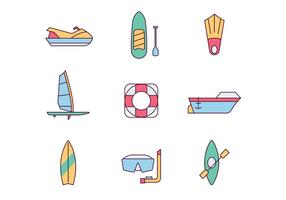 Icone di sport acquatici vettore