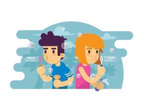 Due bambini che giocano l'illustrazione della bolla di sapone vettore