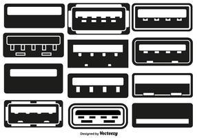 Insieme di vettore delle icone piane USB