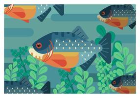 illustrazione geometrica piana di vettore del piranha