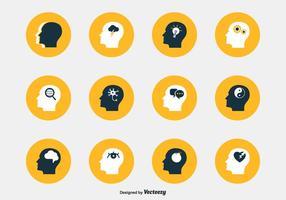 Icone di vettore di testa di psicologia