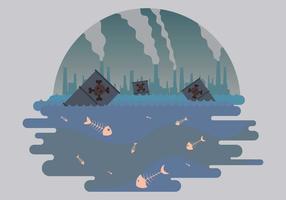 Pesce morto e illustrazione di inquinamento