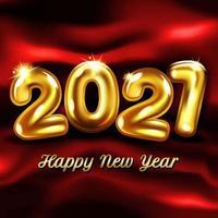 sfondo di baloon di lamina d'oro del nuovo anno 2021 vettore