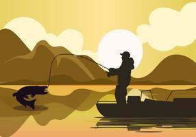uomo che pesca una silhouette di pesce muschiato vettore