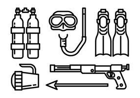Icone di vettore di pesca subacquea