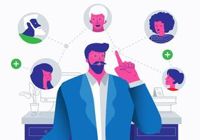 Illustrazione piana di vettore della gente di affari di riferimento