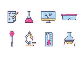 Icone degli oggetti di laboratorio vettore