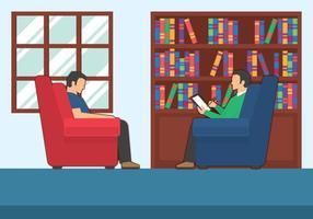 Paziente che parla con illustrazione dello psicologo vettore