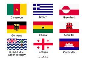 Collezione di icone di bandiere di paese assortiti