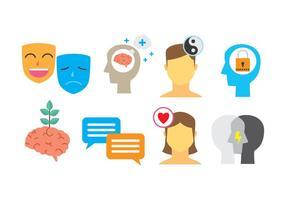 Set di icone dello psicologo vettore
