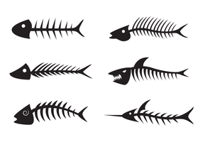 vettore nero sagoma lisca di pesce