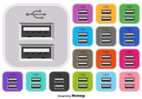Insieme di vettore dell'icona di colore USB