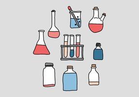 Vettori di doodle di Beaker di scienza
