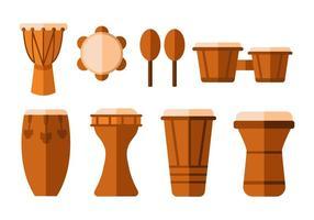 Vettore piatto tradizionale gratuito di tamburi dell'Africa