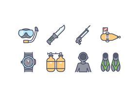 Icone di vettore dell'attrezzatura di pesca subacquea