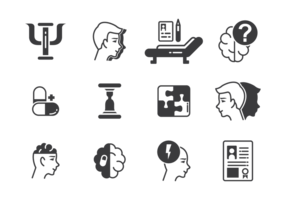 Vettore delle icone dello psicologo