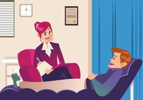 Paziente che parla con lo psicologo vettore