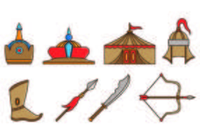 Set di icone di equipaggiamento mongolo guerriero vettore