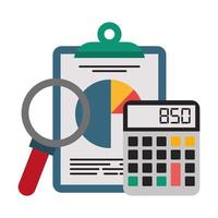 appunti per ufficio, calcolatrice e lente di ingrandimento