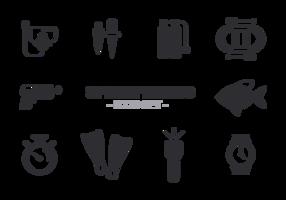 Vettore di icone di Spearfishing