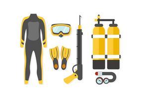 Vettore gratuito delle attrezzature di pesca subacquea