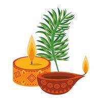 ugadi celebrazione indiana emblemi cartoni animati vettore