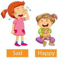 aggettivi opposti parole con felice e triste vettore