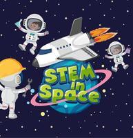stem in space logo e astronauta sullo sfondo dello spazio vettore