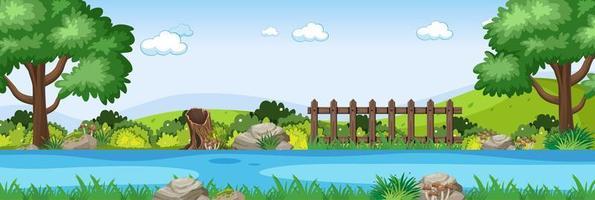 scena del fiume nella scena orizzontale del parco vettore