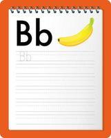foglio di lavoro per tracciare l'alfabeto con le lettere be b vettore