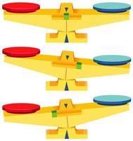 set di scale di equilibrio vuoto isolato su sfondo bianco vettore