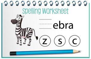 trova la lettera mancante con la zebra vettore