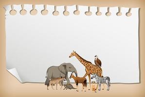 striscione di carta vuoto con animali selvatici africani vettore
