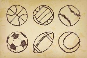 palla schizzo set semplice delineato su carta vecchia vettore