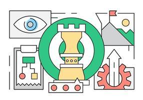 Icone di strategia aziendale lineare