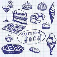 dessert cibo impostato schizzo disegnato a mano su carta notebook vettore
