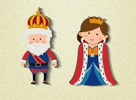 personaggio dei cartoni animati di re e regina vettore