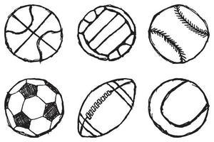 palla schizzo set semplice delineato isolato vettore