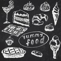dessert cibo impostato schizzo disegnato a mano sulla lavagna vettore