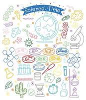 set di elementi scientifici doodle isolati su sfondo bianco