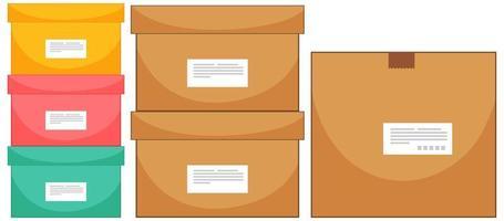 set di scatole di diverse dimensioni su sfondo bianco vettore