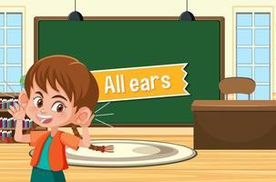 poster di idioma con tutte le orecchie vettore