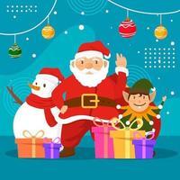 Babbo Natale e pupazzo di neve celebrano il Natale insieme vettore