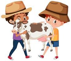 due ragazzi che tengono simpatico personaggio dei cartoni animati animale isolato su sfondo bianco vettore
