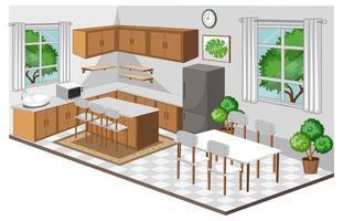 interno della sala da pranzo con mobili in stile moderno