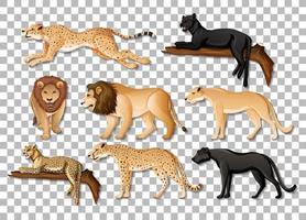 set di isolati animali selvatici africani su sfondo trasparente